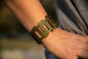 Mid Cen Mod Rectangle  Leather Bracelet