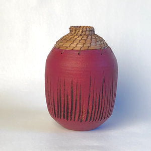 Small Raspberry Textured Vase