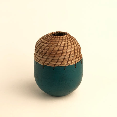 Mini bud vase in teal