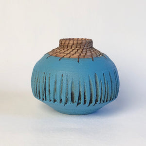 Small Turquoise Textured Vase