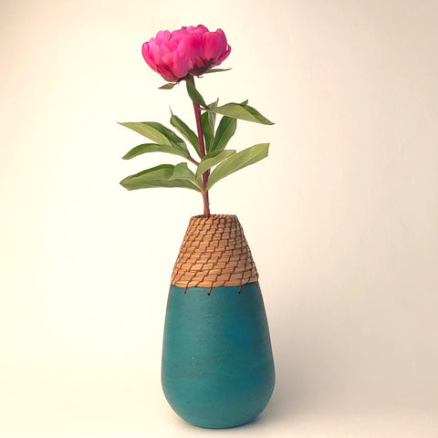 Teal Tear Drop Vase