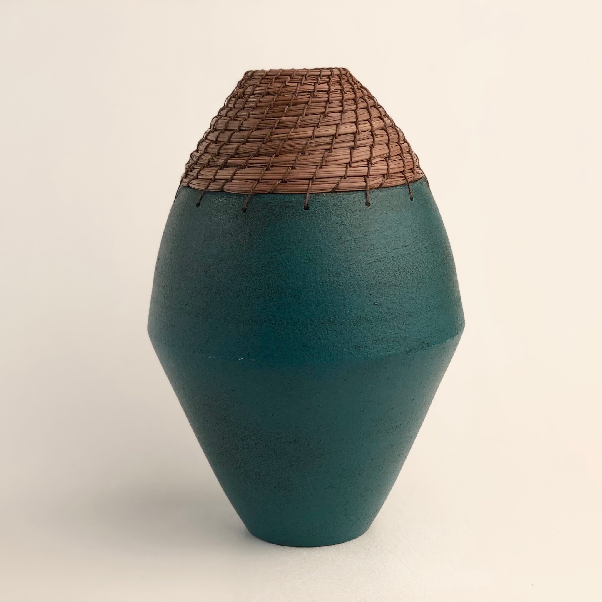 Teal diamond vase