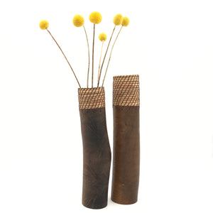 Dark brown wood vase with warp 11""