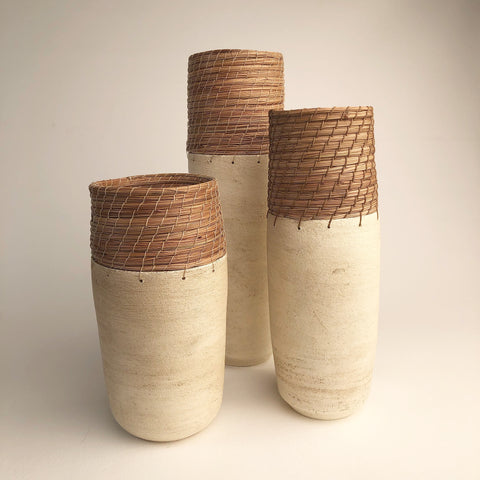 White cylinder vases in 3 sizes
