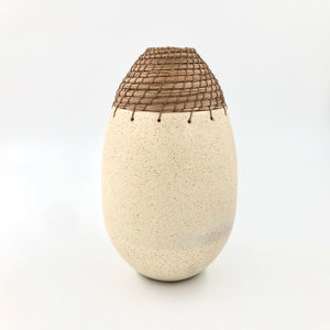 Speckled satin cream glaze bullet vessel