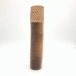 Dark brown wood vase 12.5""