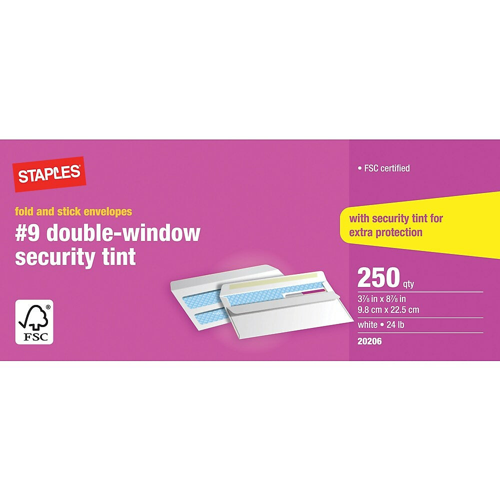"""Image of Staples Fold-and-Stick #9 Double Window Security Envelopes - 3-7/8"""" x 8-7/8"""" - White - 250 Pack"""