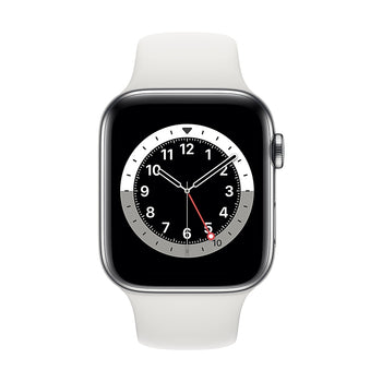 Apple Watch Series 6, 44mm, GPS + Cellular, Silver Stainless Steel with White Sport Band M07L3VC/A
