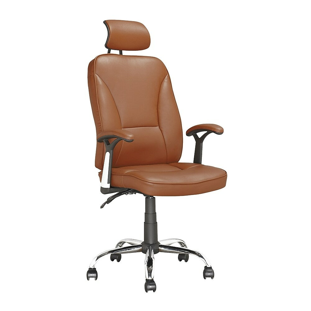 Corliving Executive Office Chair With Headrest Light Brown Leatherett Staples Ca