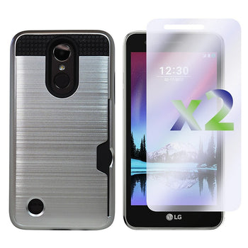 Image of Exian LG K4 2017 Armored Case with Card Slot, Silver (K4-002-SLV)