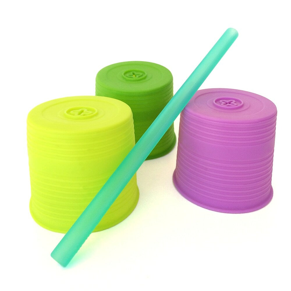 Image of Silikids Universal Straw Top, Lime/Green/Purple, 3 Pack