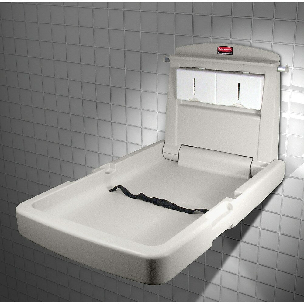 """Image of Rubbermaid Vertical Baby Changing Station, 23"""" x 34.1"""" x 4"""" (FG781988LPLAT)"""