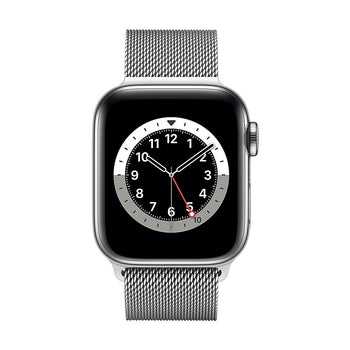 Apple Watch Series 6, 40mm, GPS + Cellular, Silver Stainless Steel Cass with Silver Milanese Loop M02V3VC/A