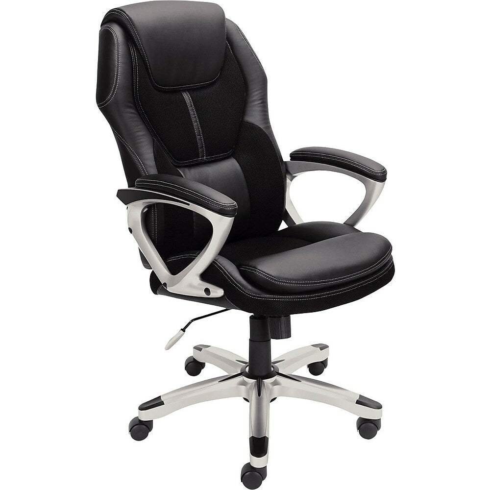 Serta Executive Office Chair Puresoft Faux Leather With Mesh Black Staples Ca