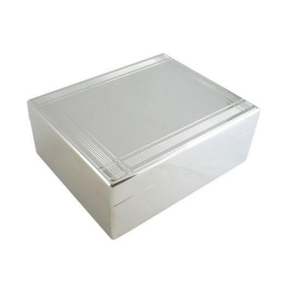 Elegance Silver Plated Lacquered Hinged Jewelry Box With Striped Borde Staples Ca