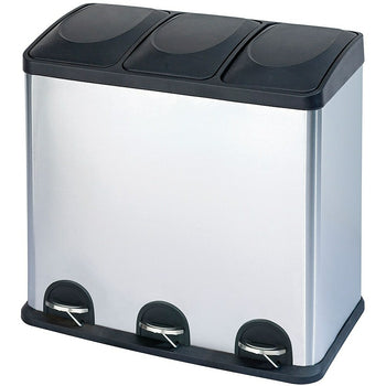 Image of The Point Gallery Step N' Sort 3-Compartment Trash u0026 Recycling Bin, 60L