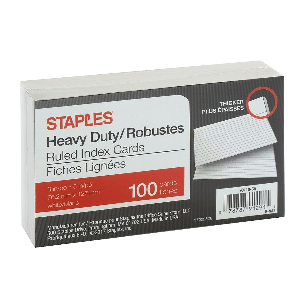 """Staples Heavy Duty Ruled Index Cards - 225"""" x 25"""" - White - 25 Pack For 3 X 5 Index Card Template"""
