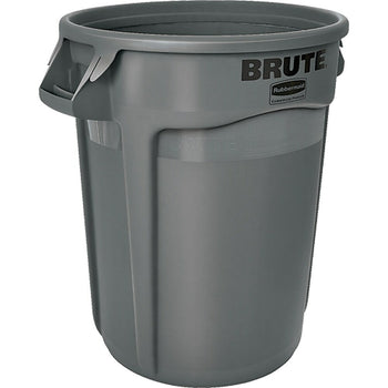 Image of Round Brute Containers, Vented, Grey, Gal 32, 2 Pack