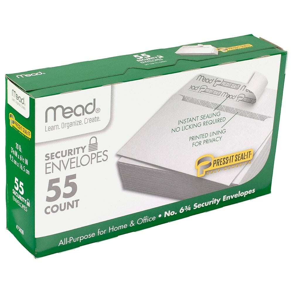 Image of Mead Press It Seal It #6 Security Envelopes, White, 660 Pack (MEA75030)