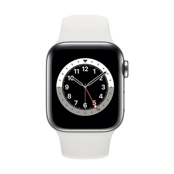 Apple Watch Series 6, 40mm, GPS + Cellular, Silver Stainless Steel Case with White Sport Band M02U3VC/A
