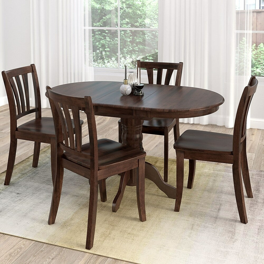 Corliving Dillon 5 Piece Extendable Stained Solid Wood Dining Set Cap Staples Ca