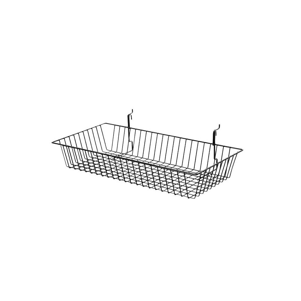 """Image of Can-Bramar Universal Wire Basket, 24"""" x 12"""" x 4"""", Black, 10 Pack"""