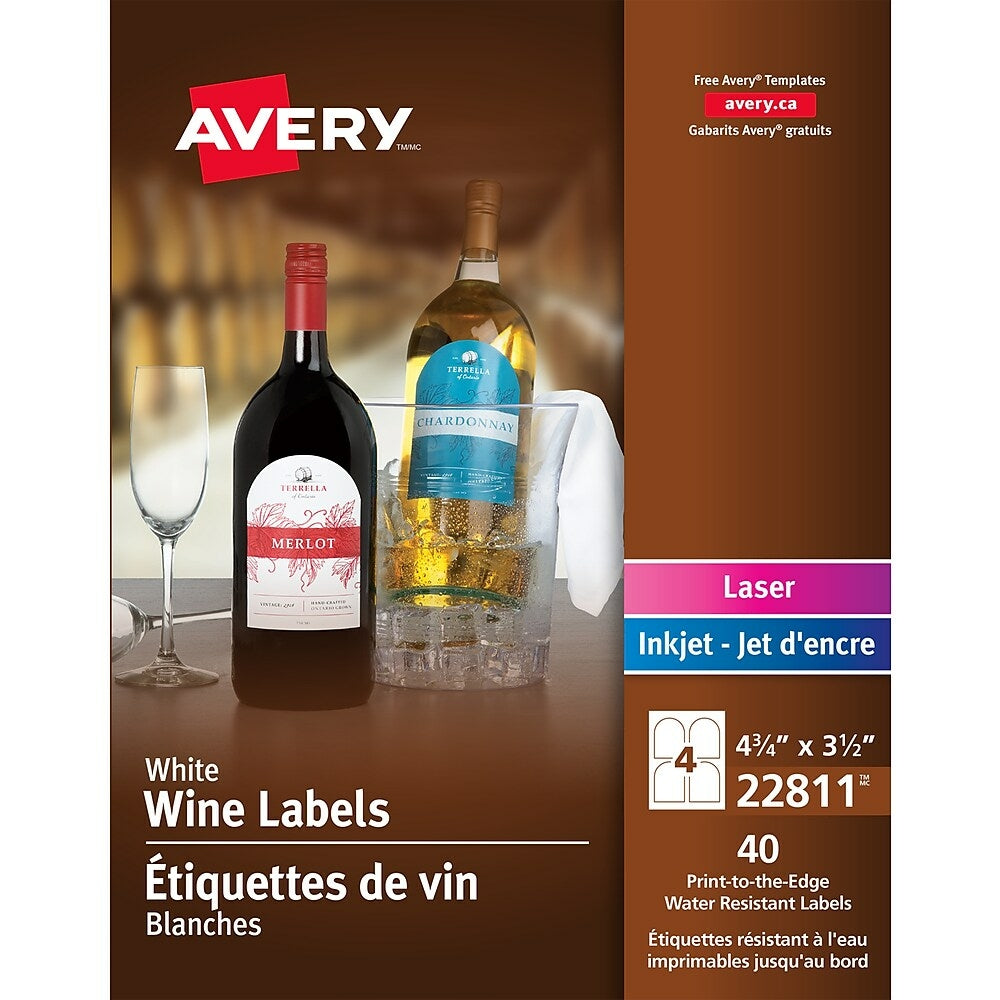 Avery White Laser Inkjet Print To The Edge Arched Wine Bottle Label P Staples Ca