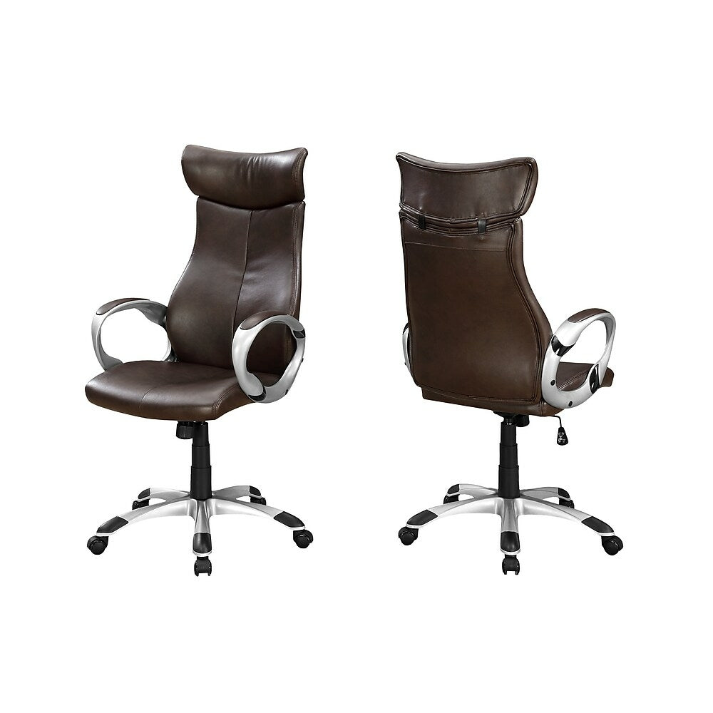 Monarch I 7289 Leather Look High Back Executive Office Chair Brown Staples Ca