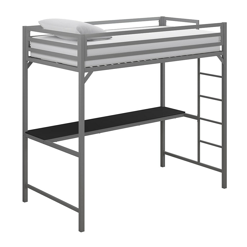 Image of DHP Miles Metal Twin Loft Bed with Desk - Silver