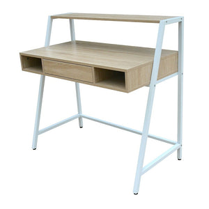 Simply Desk With Shelf And Drawer, Oak And White