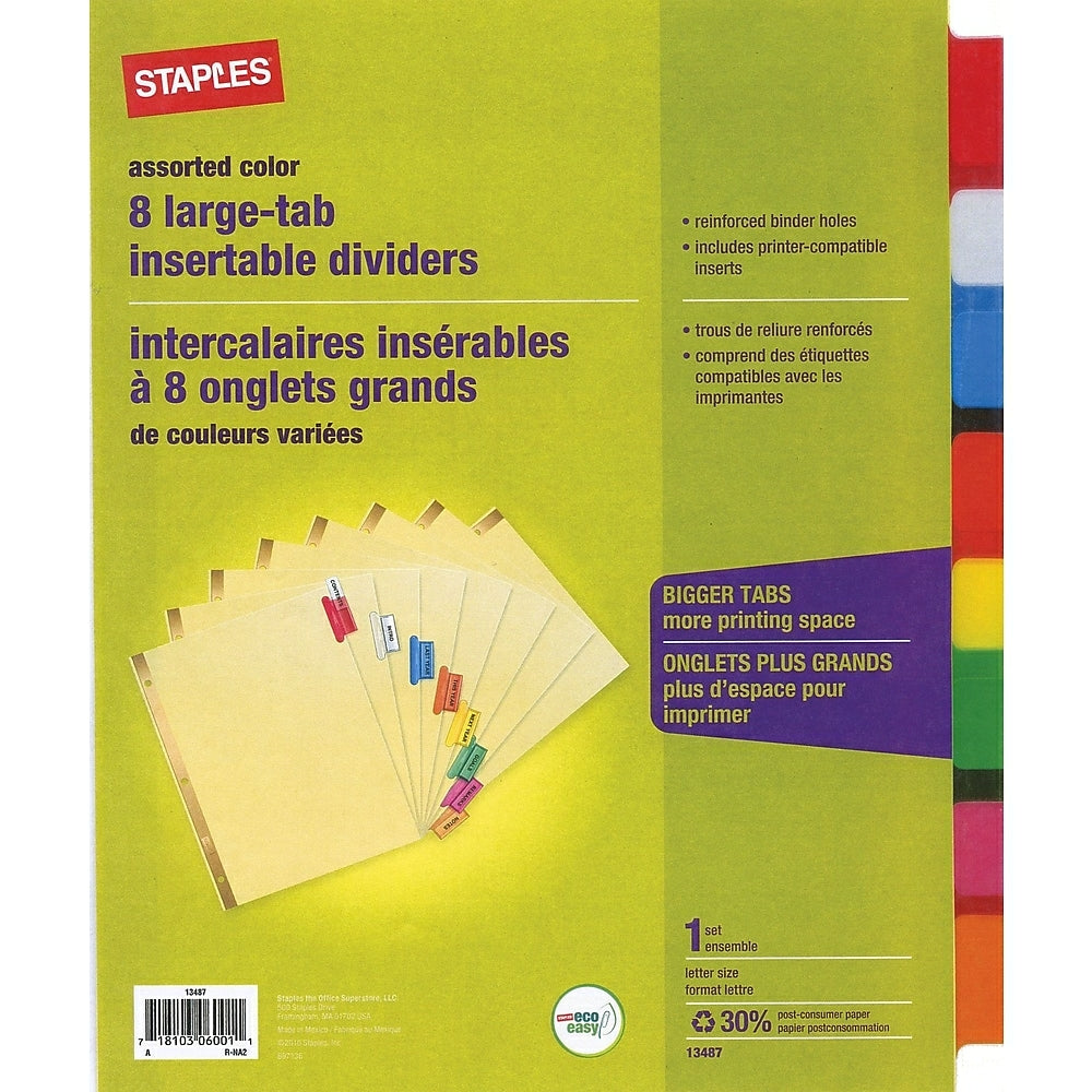 Staples Large Tab Insertable Dividers - 21 Tabs - Assorted Colours Within 8 Tab Divider Template Word