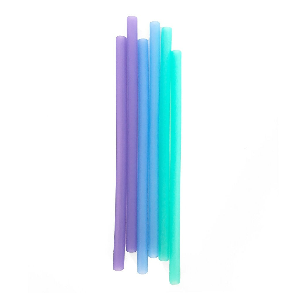 Image of Silikids Reusable Silicone Straws, Ombre Blue, 6 Pack