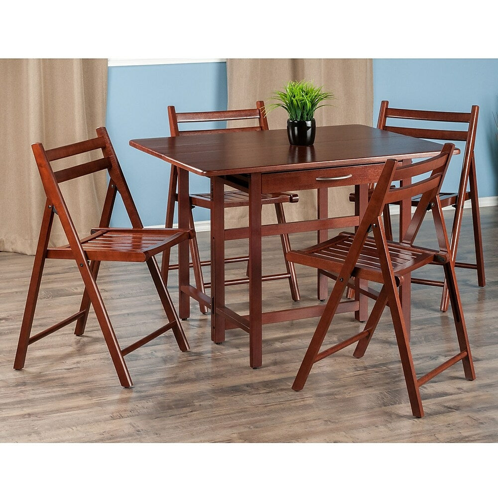 Silver Dining Table And Chairs, Winsome Taylor 5 Piece Drop Leaf Table Set 4 Folding Chairs Walnut Www Staples Ca