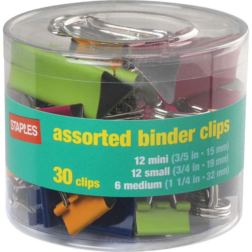 Staples Binder Clips - Classic Colours & Sizes - 30 Packs   staples.ca
