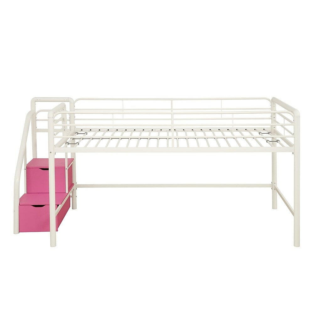 Image of DHP Junior Twin Loft Bed with Storage Steps - White
