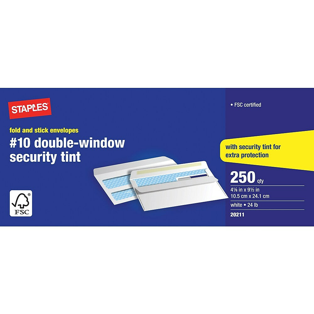 """Image of Staples Fold-and-Stick #10 Double Window Security Envelopes - 4-1/8"""" x 9-1/2"""" - White - 250 Pack"""