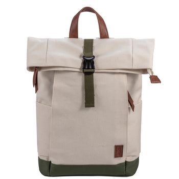 General Waxed Canvas Backpack, Off-white and Green