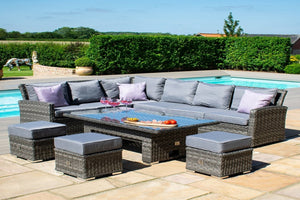 Rectangular Garden Corner Sofa Dining Sets For A Modern Out Door Space