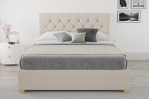 Small Double Ottoman Beds In Beige With A Memory Foam Mattress