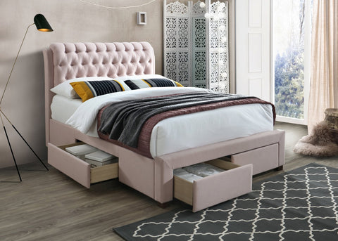 Artisan Bed Company Button Draw Pink Fabric Bed-Better Bed Company