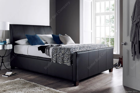Charcoal Leather Bed Frame With Headboard