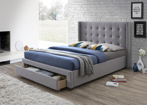 Artisan Bed Company Grey fabric front draw Bed Frame