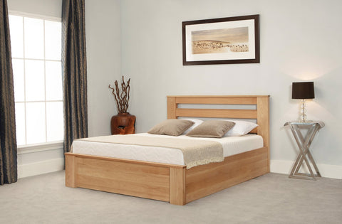 Pine Small Double Ottoman Bed