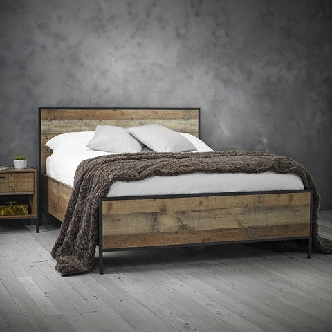 Two Tone Black And Metal Bed Frame