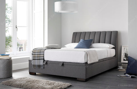 Kaydian Lanchester Elephant Artemis Grey Fabric Storage Ottoman Bed Frame