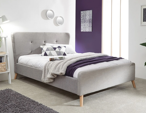 Small Double Mattress With A Grey Bed Frame