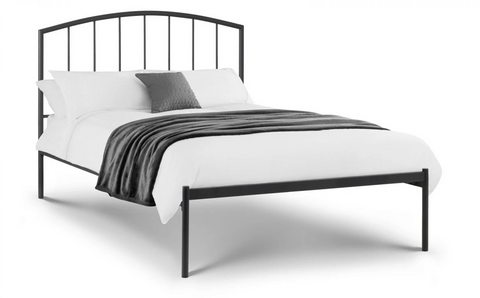 Small Single Cool Blue Memory Foam Mattress With A Metal Bed Frame