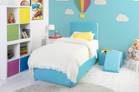 Blue Childrens 3ft Single Bed Base And Mattress