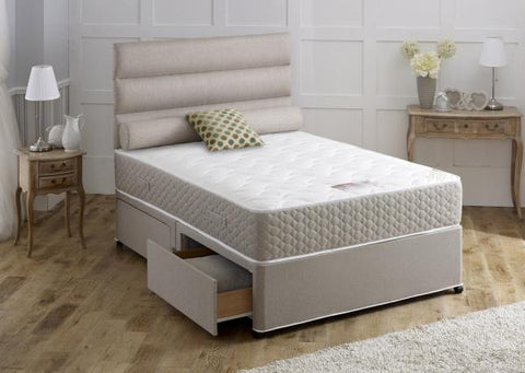 Beige 4ft6 Double Base With Mattress