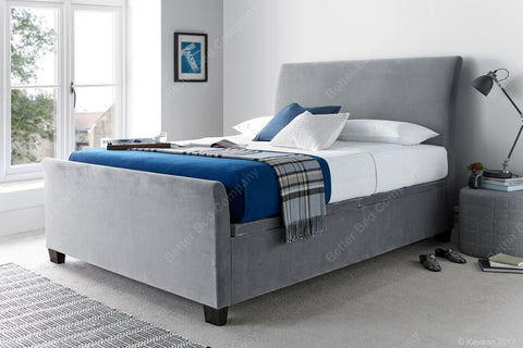 Light Grey Small Double Ottoman Bed